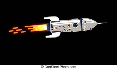 Rocket flies with jet flame. Looped Anamation motion design...