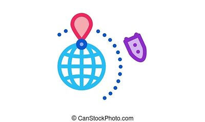 rocket fly around world Icon Animation. color rocket fly around world animated icon on white background