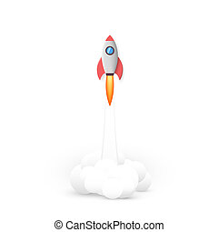 Rocket fly. Business idea start up concept. Vector illustration isolated on white