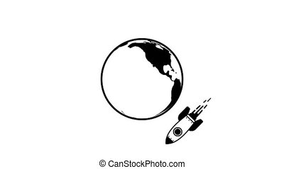 Rocket flying around earth - animated icon