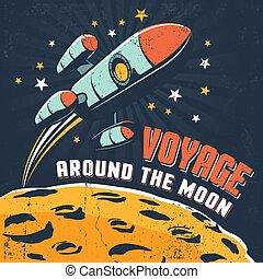 Rocket flying around moon orbit