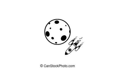 Rocket flying around planet moon