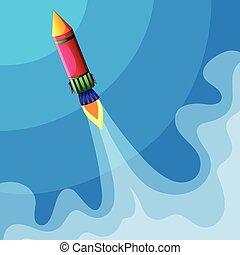 Rocket flying high in sky