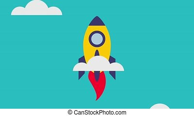 rocket flying icons - sky rocket flying thorough clouds...