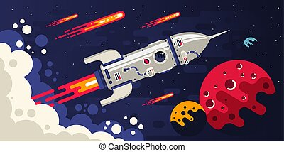 Rocket flying in space to other planets