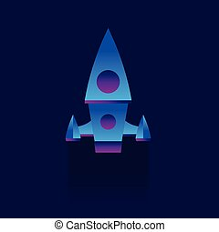 Rocket flying in space. Vector illustration. Flat style. on Blue background. icon