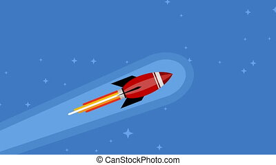 Rocket flying in space