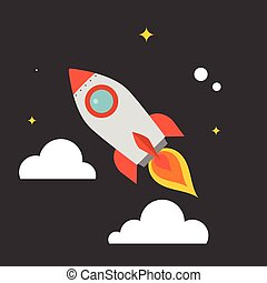 rocket flying in the sky with star and cloud background, flat design vector
