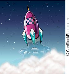 Rocket flying in the space