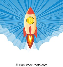 rocket flying over clouds with bitcoin icon