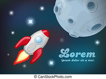Rocket flying to the moon planet. - Background: Spaceship in...