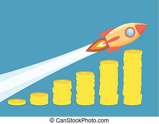 Rocket flying up on coins growth chart.