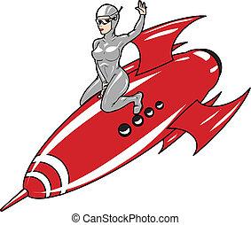 rocket girl - space girl riding a rocket