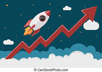 rocket graph - Rocket ship take off in cosmos and a red...