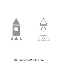 Rocket grey set icon .