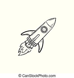 Rocket hand drawn outline doodle icon.