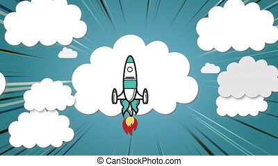 Digital animation of Rocket icon flying over multiple cloud icons against blue background. Education and school concept