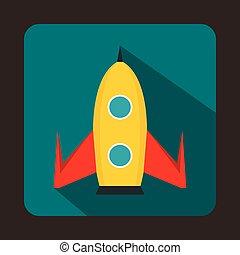 Rocket icon, flat style