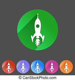 Rocket icon flat web sign symbol logo label