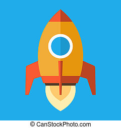 Rocket Icon in Flat Style. Vector