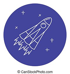 Rocket icon in thin line style