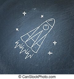 Rocket icon on chalkboard