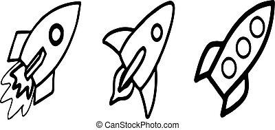 rocket icon on white background