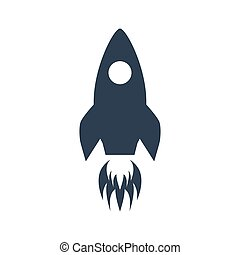 Rocket icon on white background.