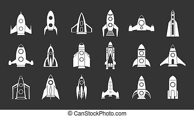 Rocket icon set grey