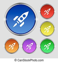 Rocket icon sign. Round symbol on bright colourful buttons. Vector