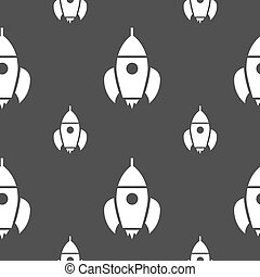 Rocket icon sign. Seamless pattern on a gray background. Vector