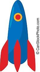 Rocket icon. Spacecraft symbol. Spaceship button. Vector flat illustration