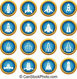 Rocket icons blue circle set