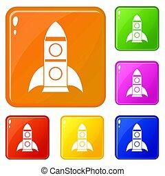 Rocket icons set color