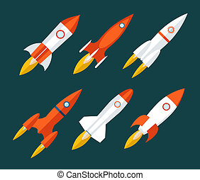 Rocket icons Start Up and Launch Symbol Innovation Development Trendy Modern Flat Design Icon Template Vector Illustration