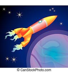 rocket illustration - a rocket type space ship