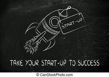 rocket illustration, let your success take off - funny...
