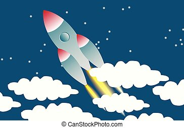 Rocket in space background