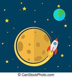 Rocket in space. Vector illustration