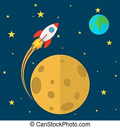Rocket in space. Vector illustration - Rocket flies through...