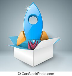 Rocket in the box. Abstract illustration Infographic. -...