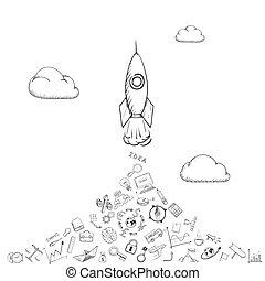 Rocket is flying