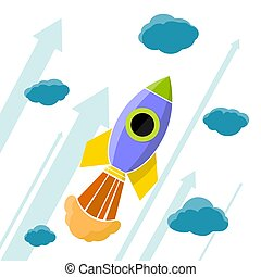 Rocket is flying in the clouds.