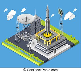 Rocket Isometric Composition - Rocket isometric composition...