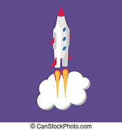 Rocket isometric, start up concept. Vector illustration in flat style.