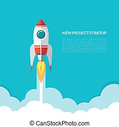 Rocket launch background. Start up concept. Vector...