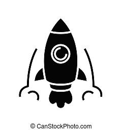 Rocket launch black icon, concept illustration, vector flat symbol, glyph sign.