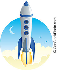 Cartoon illustration of rocket taking off. No transparency used. Basic (linear) gradients.