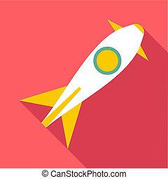 Rocket launch icon, flat style