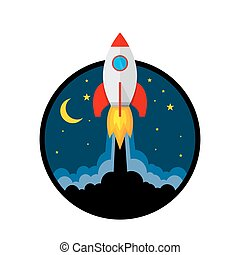 Rocket launch icon. Vector illustration. - Start up of the...